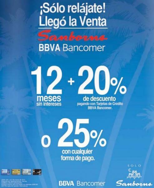 Sanborns: 20% de descuento y 12 MSI con tarjetas Bancomer o 25% con cualquier forma de pago