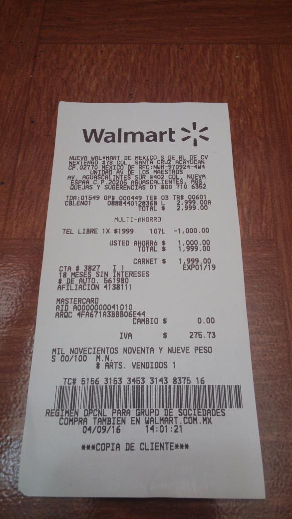 Walmart Av de los Maestros: teléfono Lenovo Vibe X a $1,999