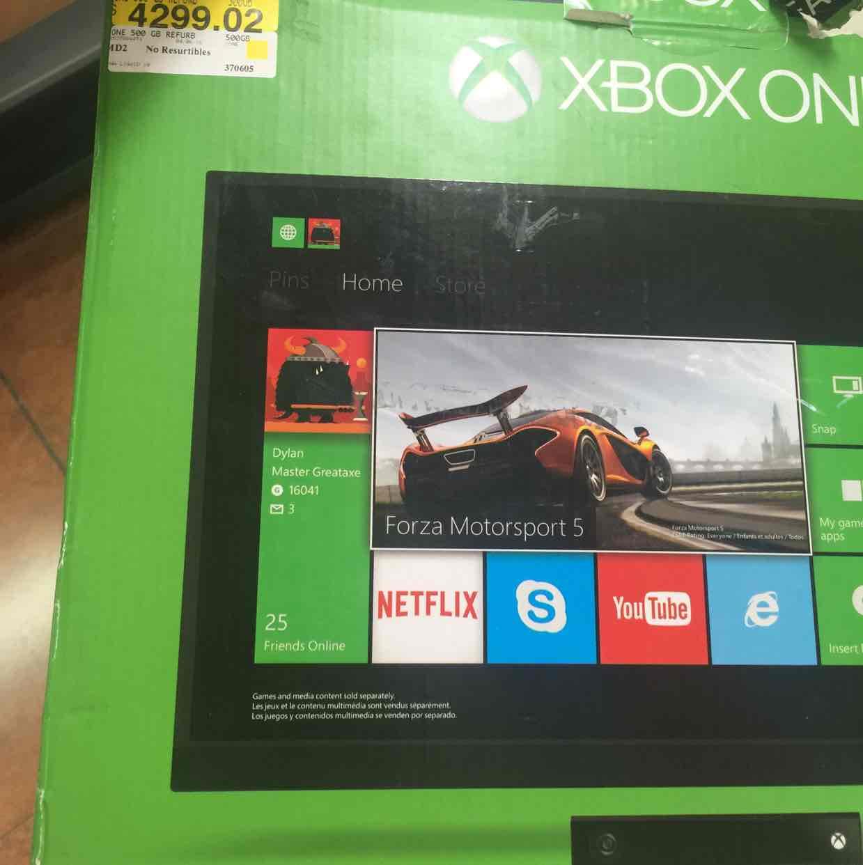 Walmart: Xbox One de 500gb con Kinect Refurbished a $4,299.02