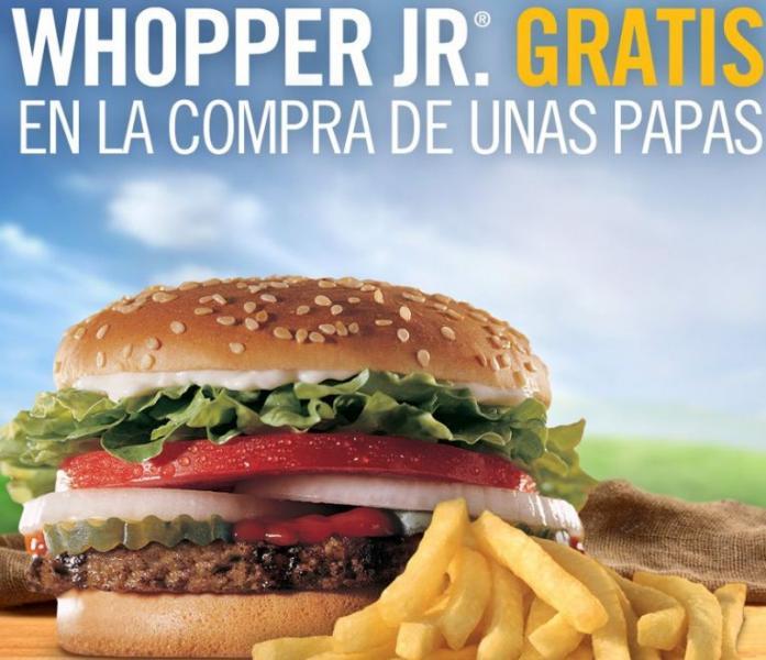 Burger King: Whopper Jr gratis al comprar unas papas (hoy)
