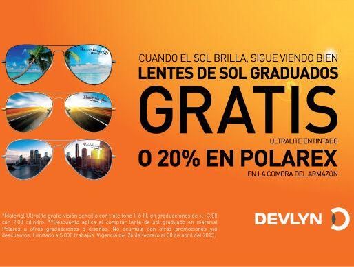Devlyn: graduación en lentes solares gratis al comprar armazón