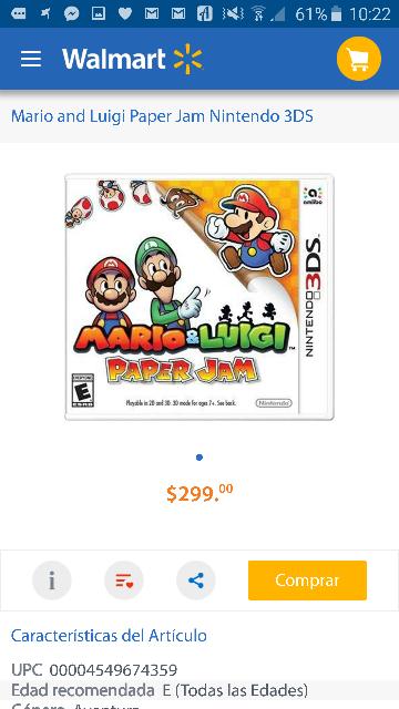 Walmart en línea: Mario & Luigi Paper Jam a $299, Final Fantasy Explorers a $399