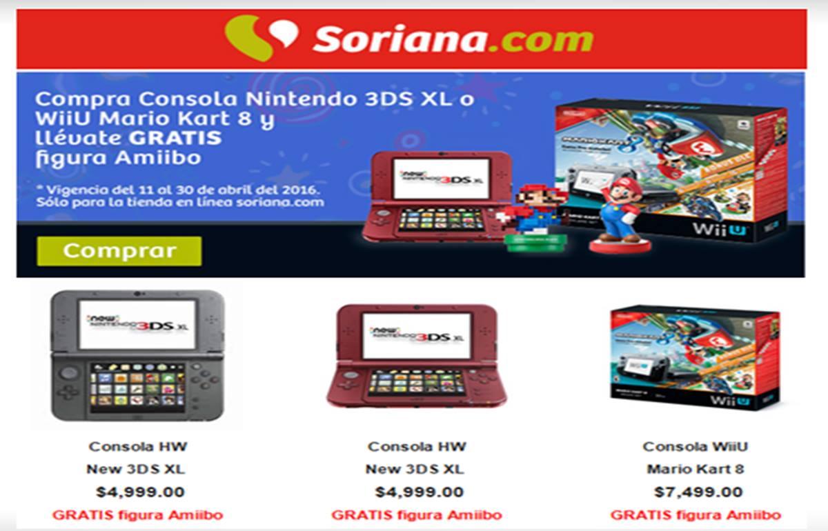 Soriana en línea: Amiibo gratis en la compra de un New Nintendo 3DS XL o Wii U