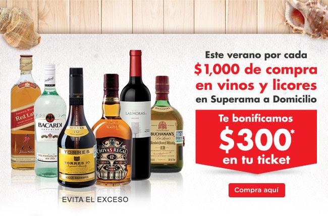 Superama: $300 de descuento por cada $1,000 en vinos y licores (algunas ciudades)