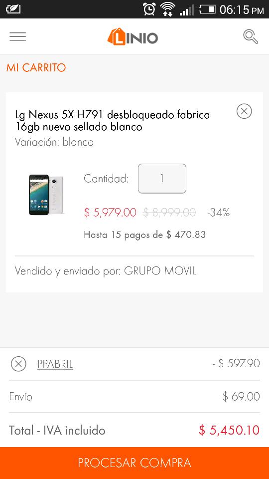 Linio: LG Nexus 5X de 16GB a $5,450 con Paypal
