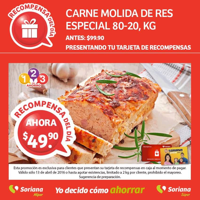 Soriana: Carne molida de res especial 80-20 a $49.90 el kilo