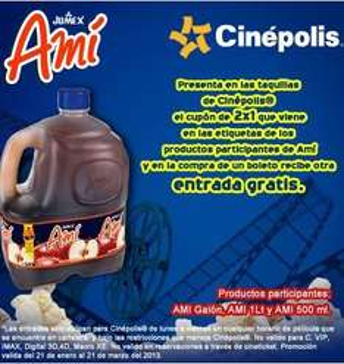 Cinépolis: 2x1 comprando Amí de Jumex