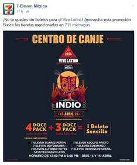 7 Eleven: Boleto Gratis para el Vive Latino en la compra de cerveza Indio