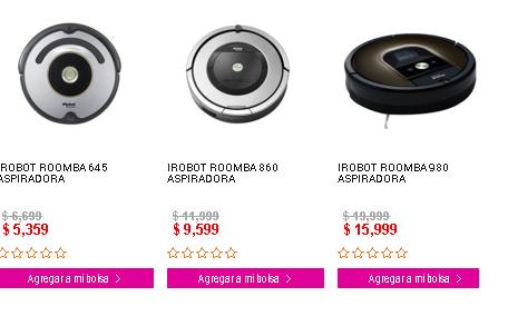 Liverpool en línea: aspiradoras robotica Roomba con 20% de descuento