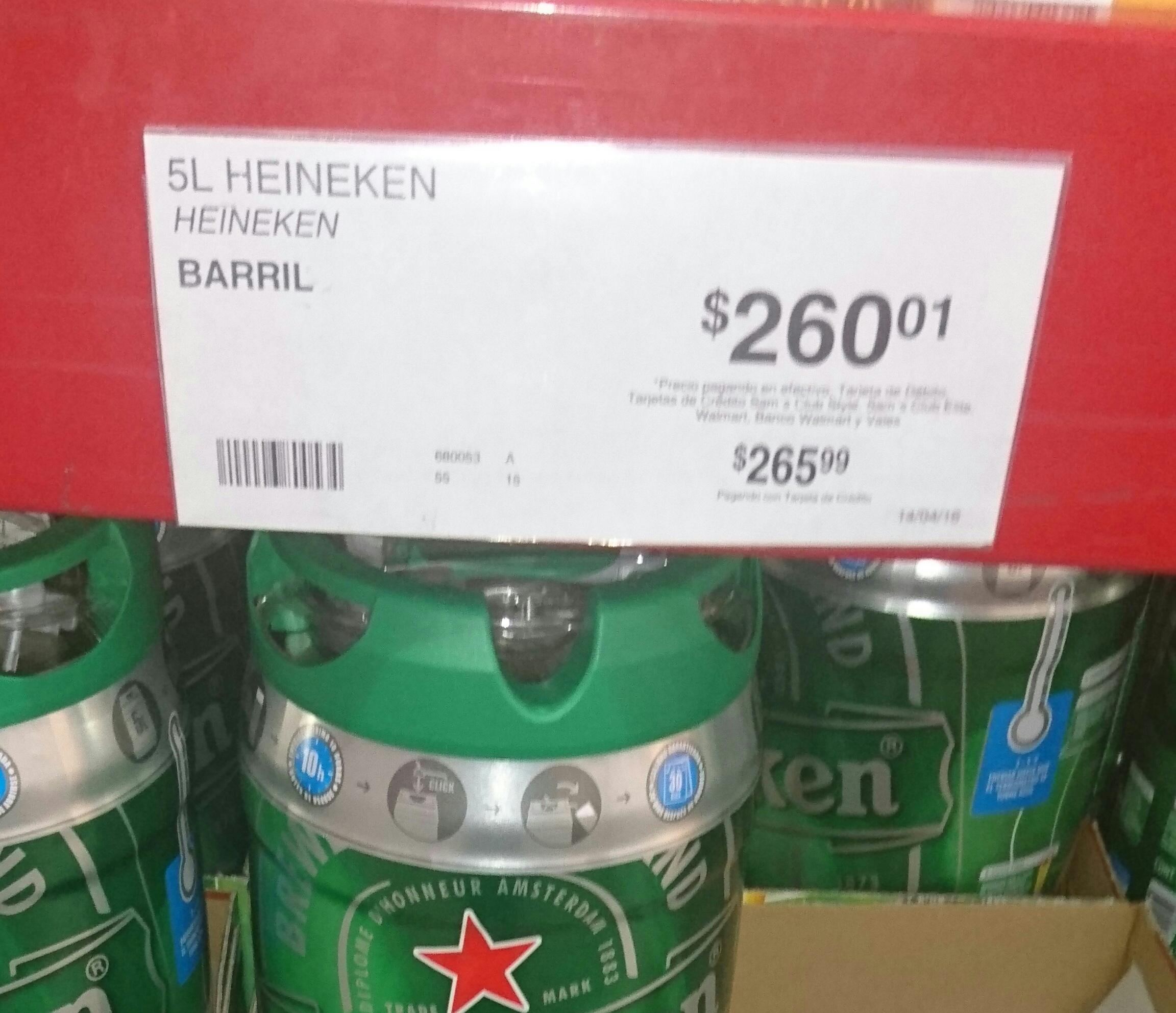 Sam's Club: barril Heineken 5 lts a $260.01