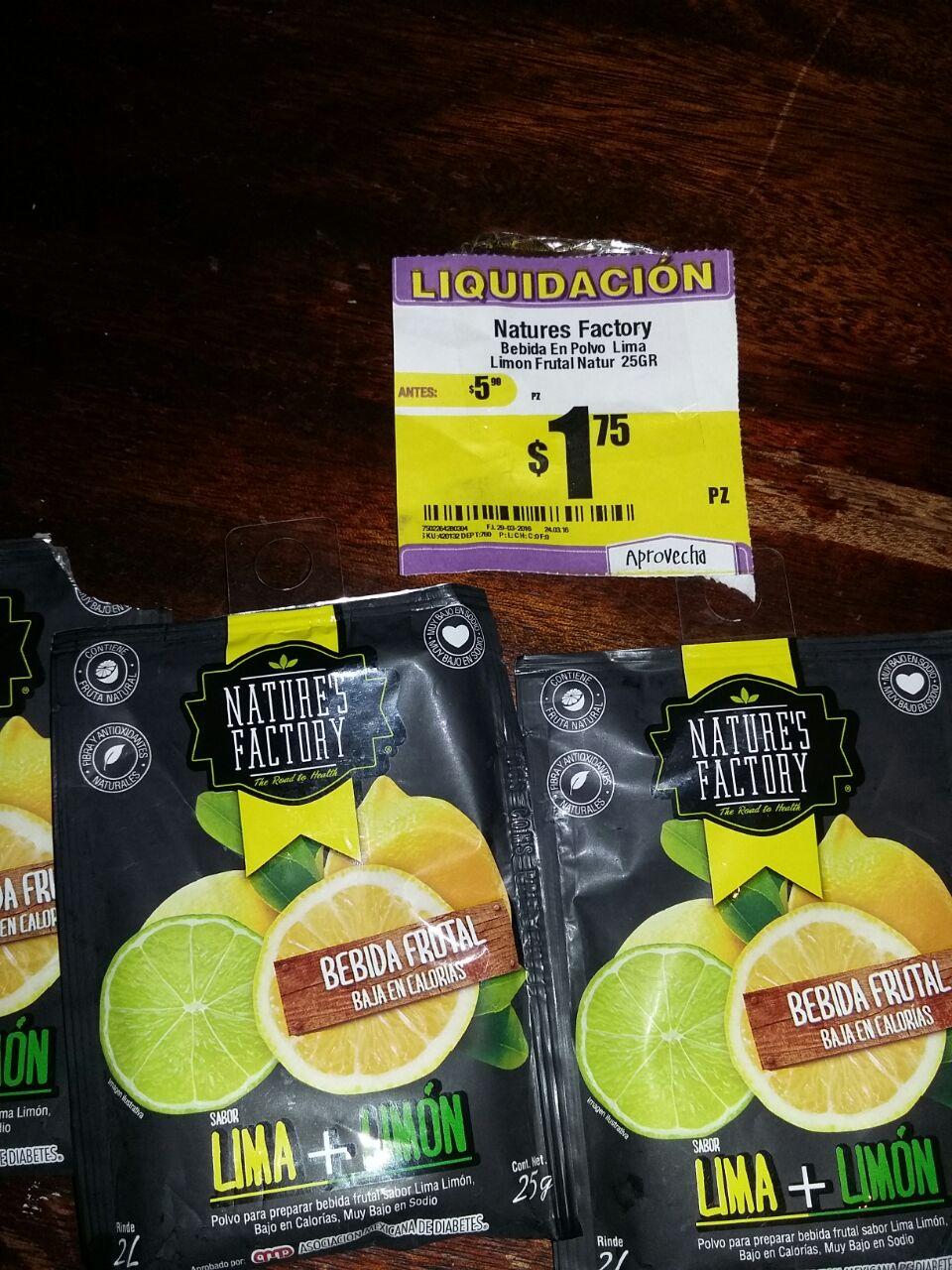HEB: Bebida en polvo Natures Factory lima limon a $1,75