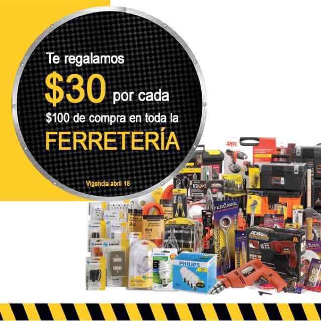 Comercial Mexicana: Depto Ferretería $30 de descuento por cada $100