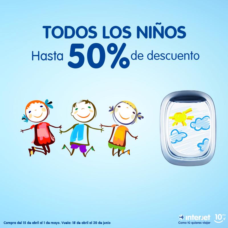 Interjet promoción del día del niño: hasta 50% de descuento para niños
