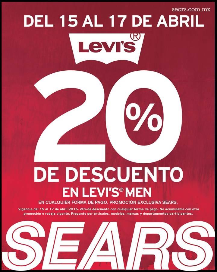 Sears: 20% de descuento en Levi's Men del 15 al 17 de abril