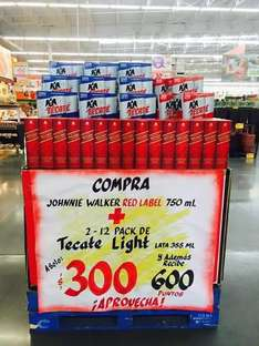 Soriana: 24 latas de Tecate Light mas Red Label por $300