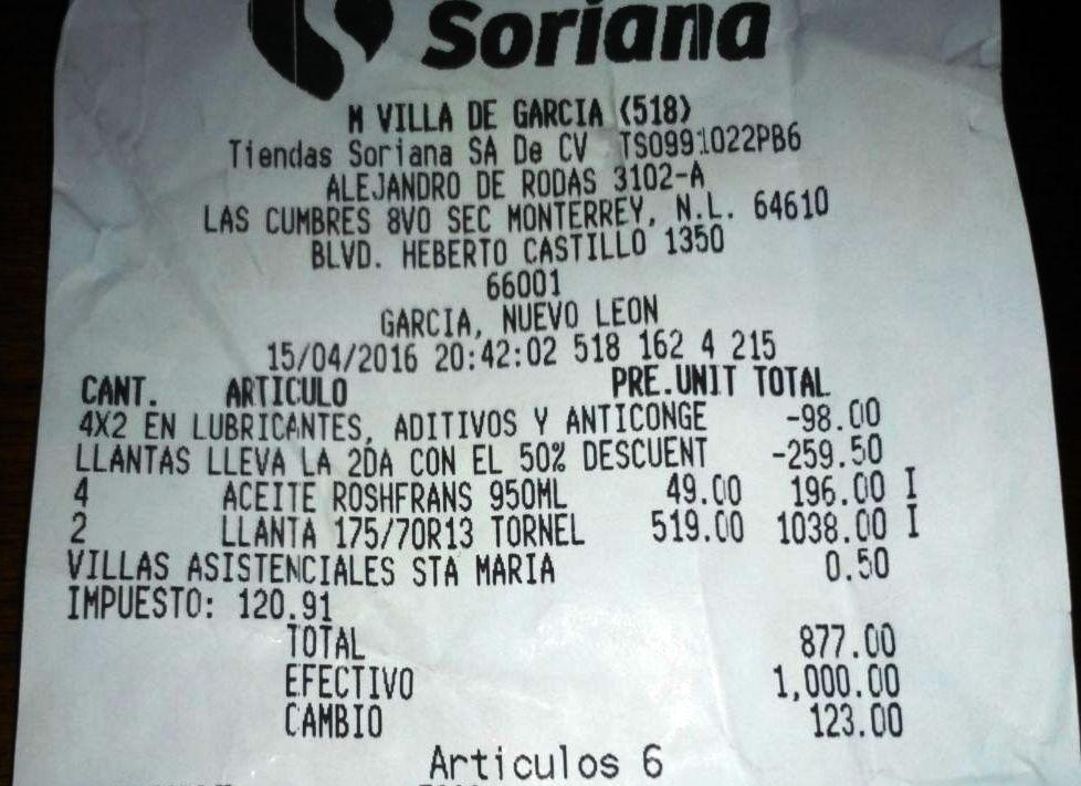 Soriana Mercado Villa de García, N.L. Aceites, aditivos, anticongelantes 4 x 2