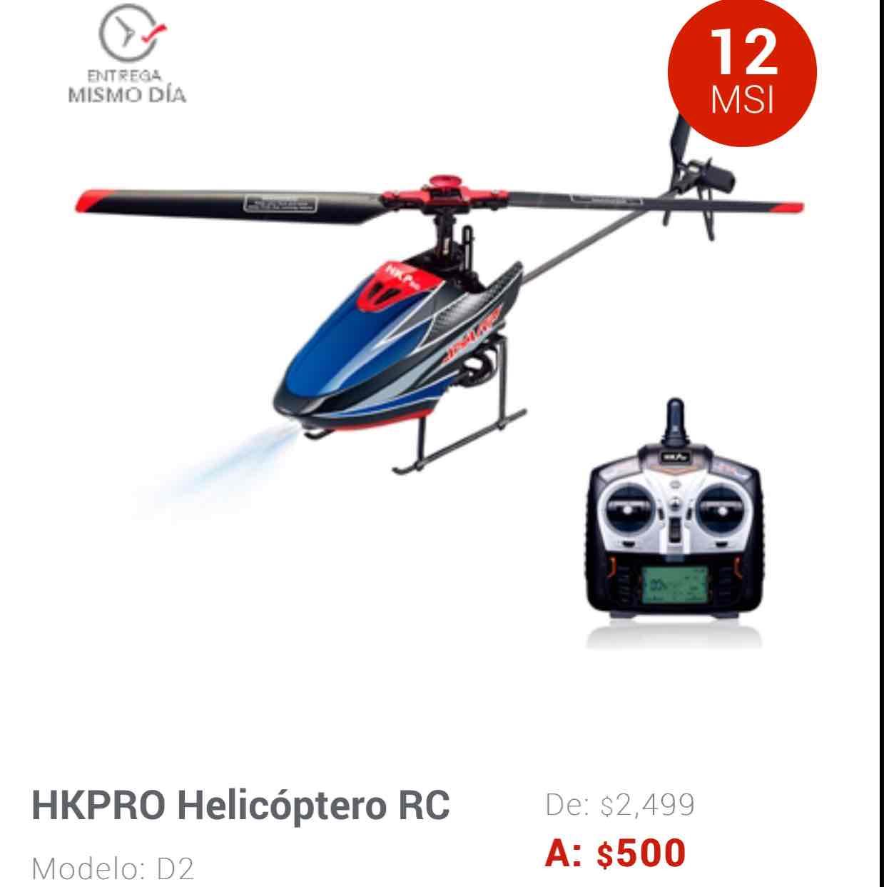 Elektra en línea: Helicoptero de radio control a $500
