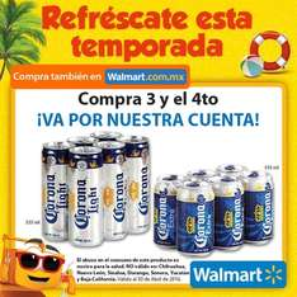 Walmart en línea y tienda física: six de cerveza Corona en lata 4x3 (ó $204 por 4 six)