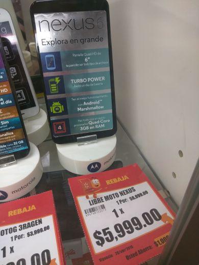Walmart en línea y tienda física: Nexus 6 de 32GB a $5,999