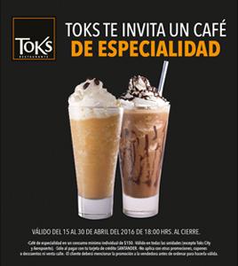 Toks: Café de Especialidad gratis pagando cena con Santander