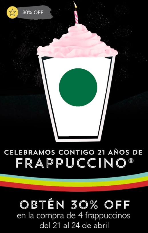 Starbucks: -30% en la compra de 4 frapuccinos