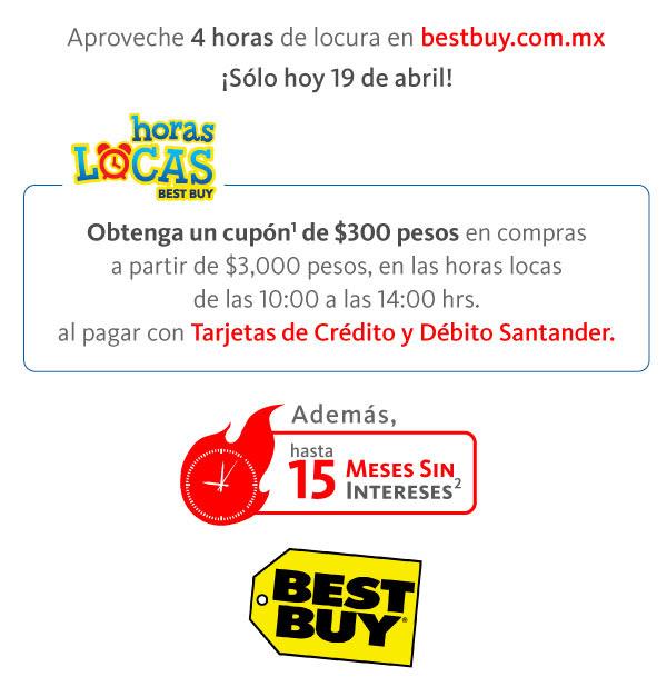 Best Buy:  15 MSI y cupón de $300 en compras mínimas de $3,000 pagando con Santander