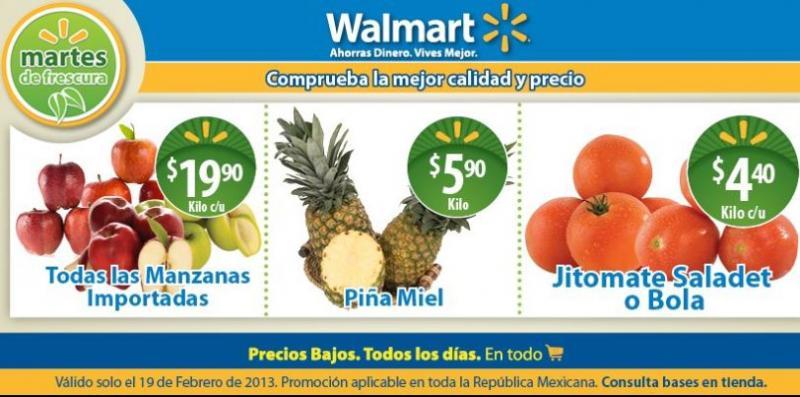 Martes de Frescura Walmart febrero 19: piña $5.90, jitomate $4.40 y más