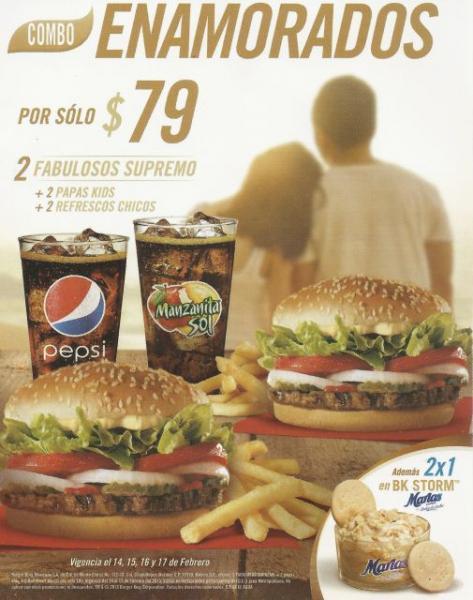 Burger King: combo enamorados y 2x1 en BK Storm Marías
