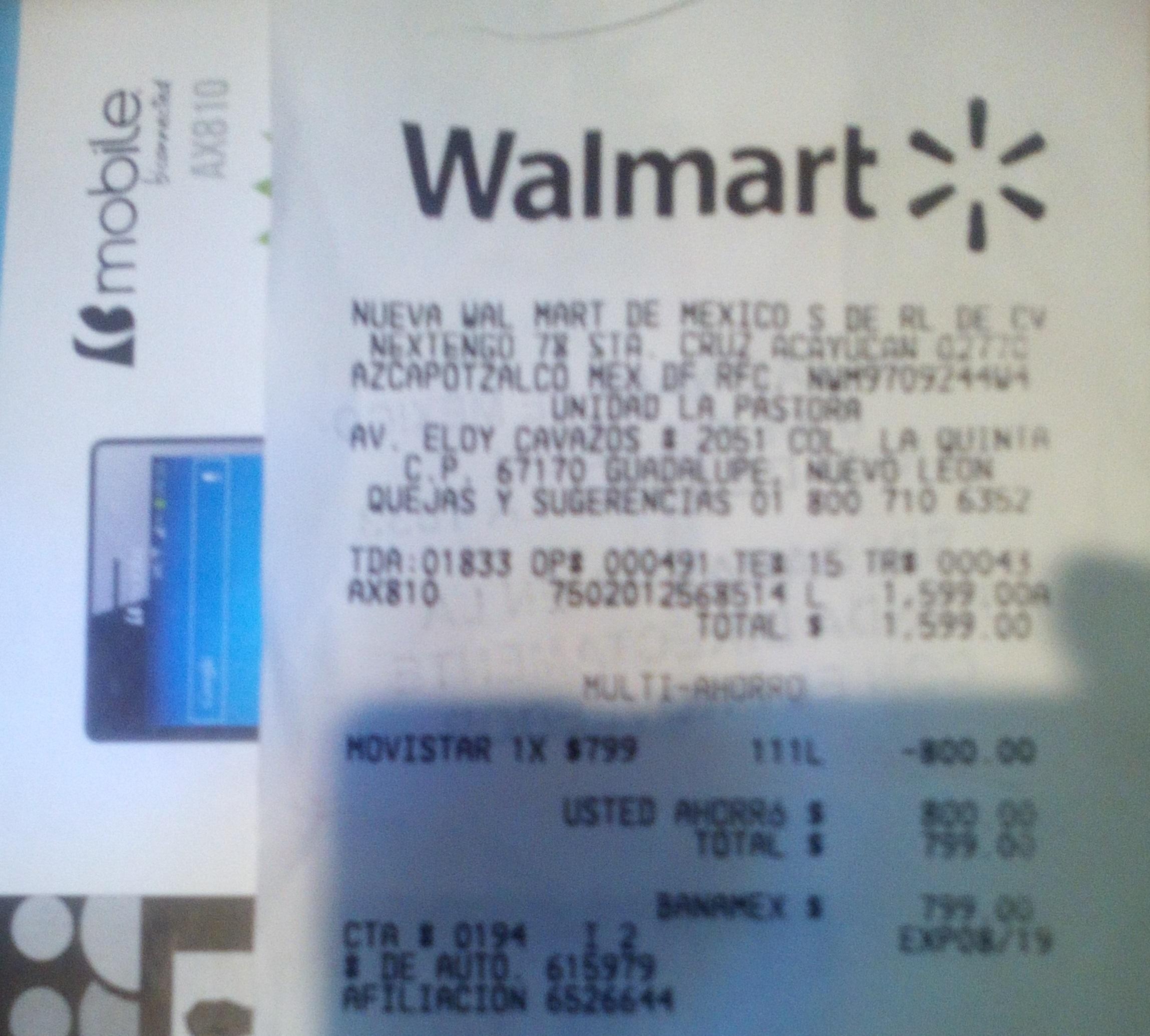 Walmart: Celular Bmobile AX810 Movistar $ 799 pantalla 5