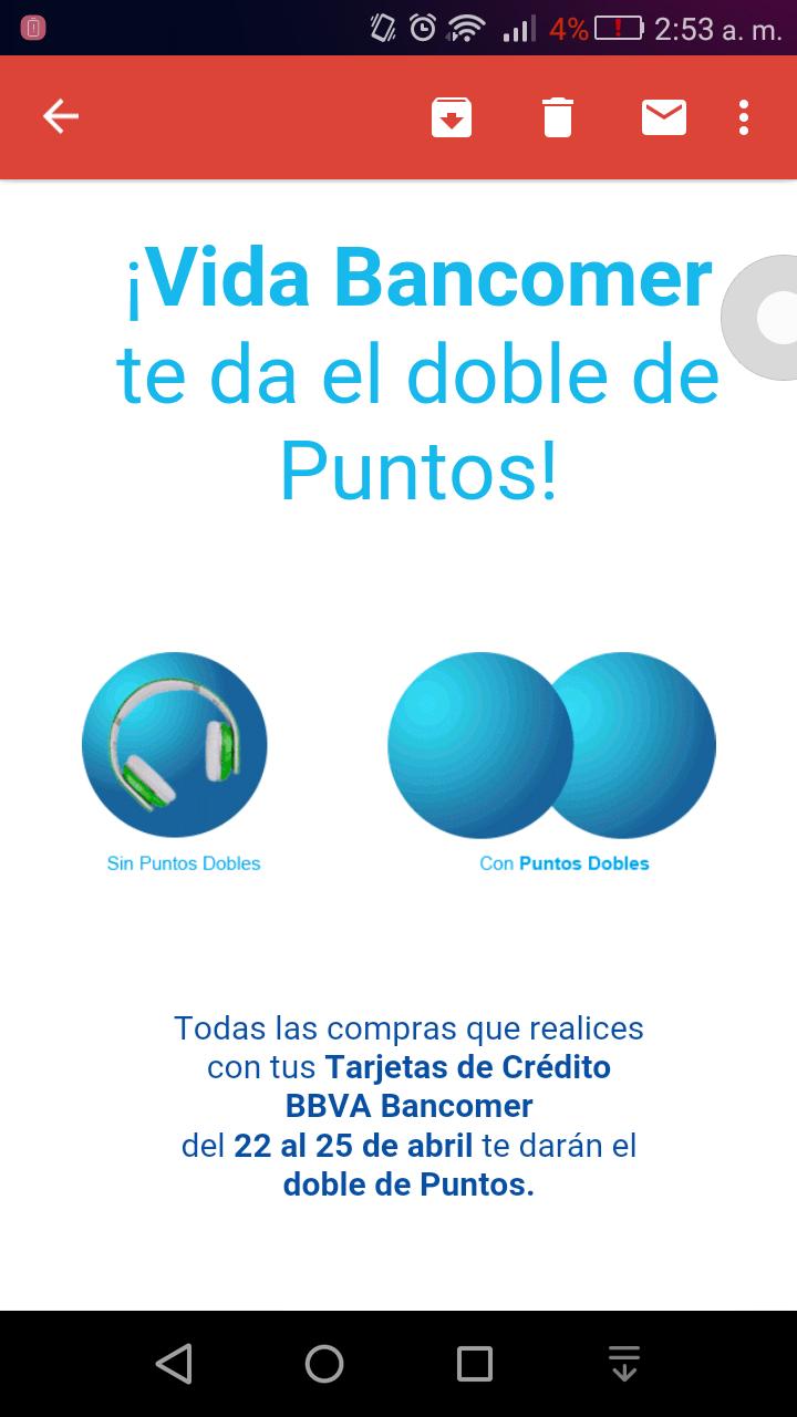Bancomer: puntos dobles del 22 al 25 de abril