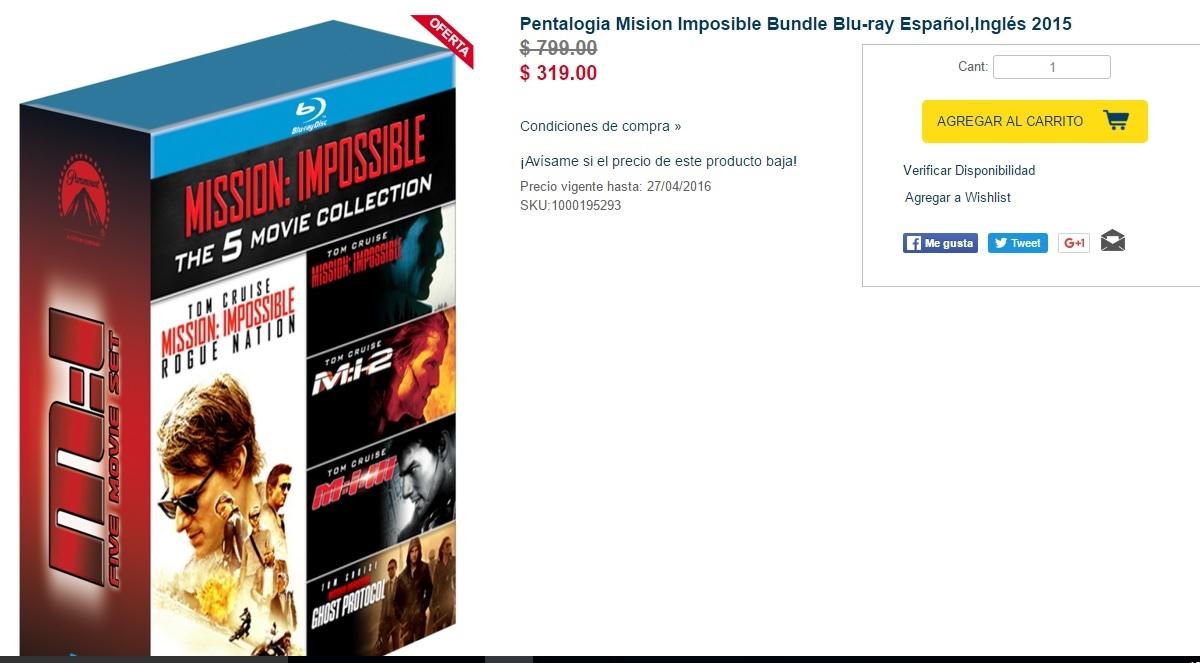 Bestbuy en línea: varias series en blu-ray y DVD  con 60% aproximadamente.