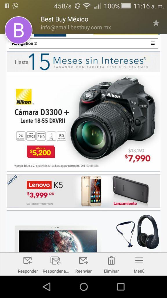 Best Buy en línea: Cámara Nikon D3300 + lente a $7,990