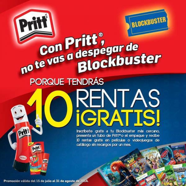 Blockbuster: 10 rentas de películas o videojuegos de catálogo llevando tubo de Pritt