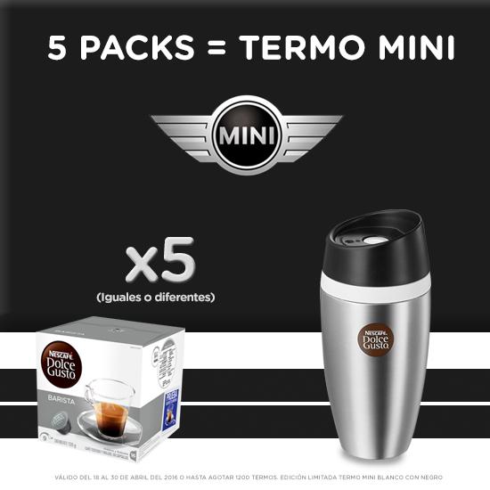 Nescafé Dolce Gusto tienda en línea: Termo Mini Edición Limitada GRATIS en la compra de 5 cajas + envío gratis