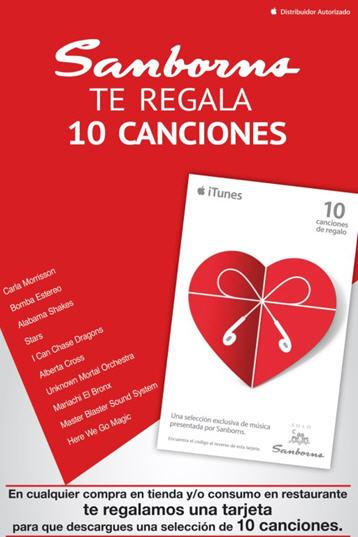 Sanborns: gratis tarjeta iTunes con 10 canciones en cualquier compra