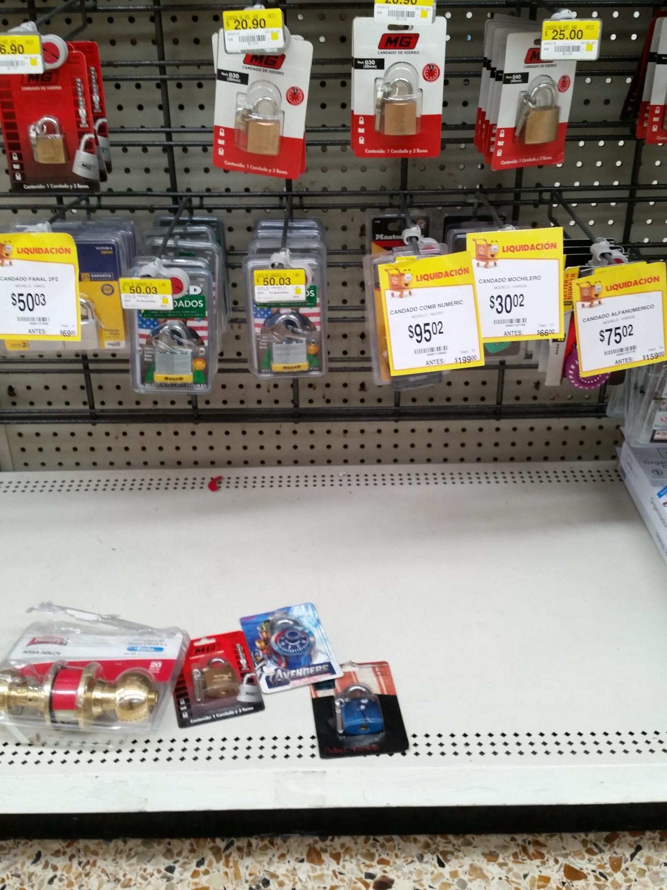 Walmart: Candados en segunda liquidación