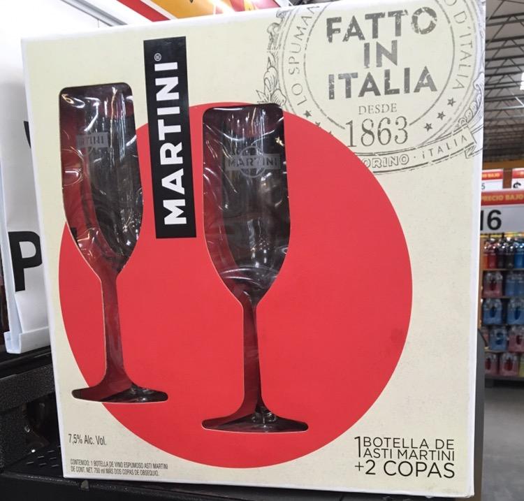 Walmart Valle: Estuche Martini  & copas a $68.01