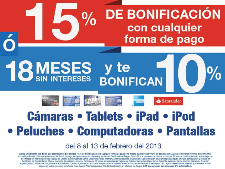 Sams Club: 15% de bonificación con cualquier forma de pago en TVs, iPads, computadoras y +