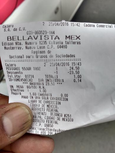 Oxxo Bellavista: croquetas pedigree raza pequeña 1-7 de 550gr a $1