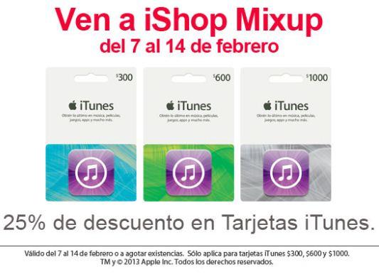 iShop Mixup: 25% de descuento en tarjetas iTunes