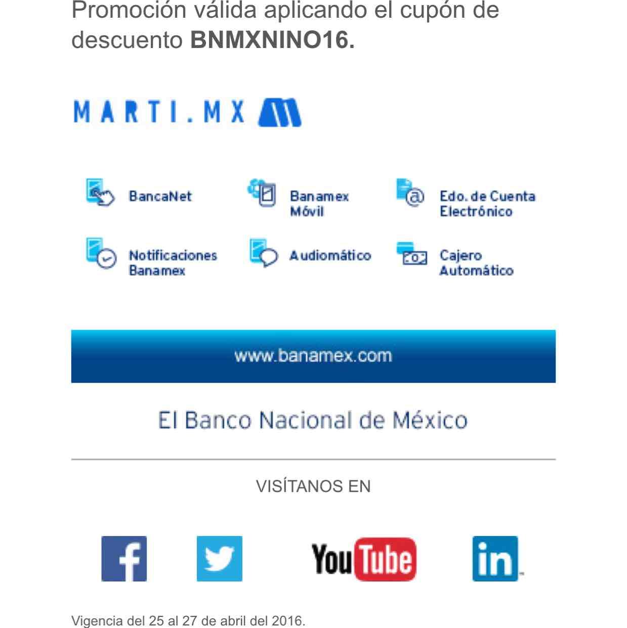 Martí en línea: hasta 20% de descuento con tarjetas Banamex en productos seleccionados