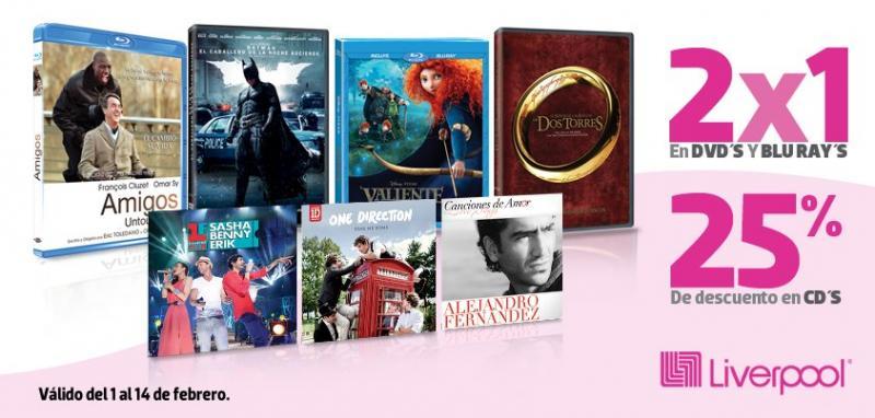 Liverpool: 2x1 en DVDs y Blu-rays y 25% de descuento en CDs