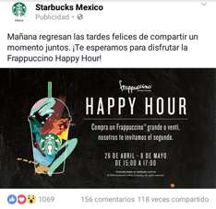 Starbucks: 2x1 Frappuccinos