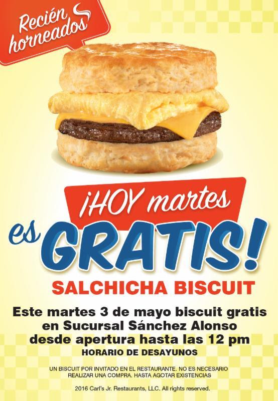 Carl's Jr Sánchez Alonso Culiacán: Biscuits gratis este 26 de abril
