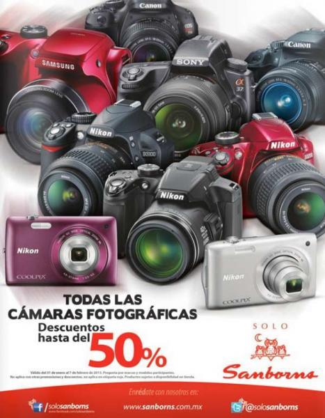 Sanborns: hasta 50% de descuento en cámaras