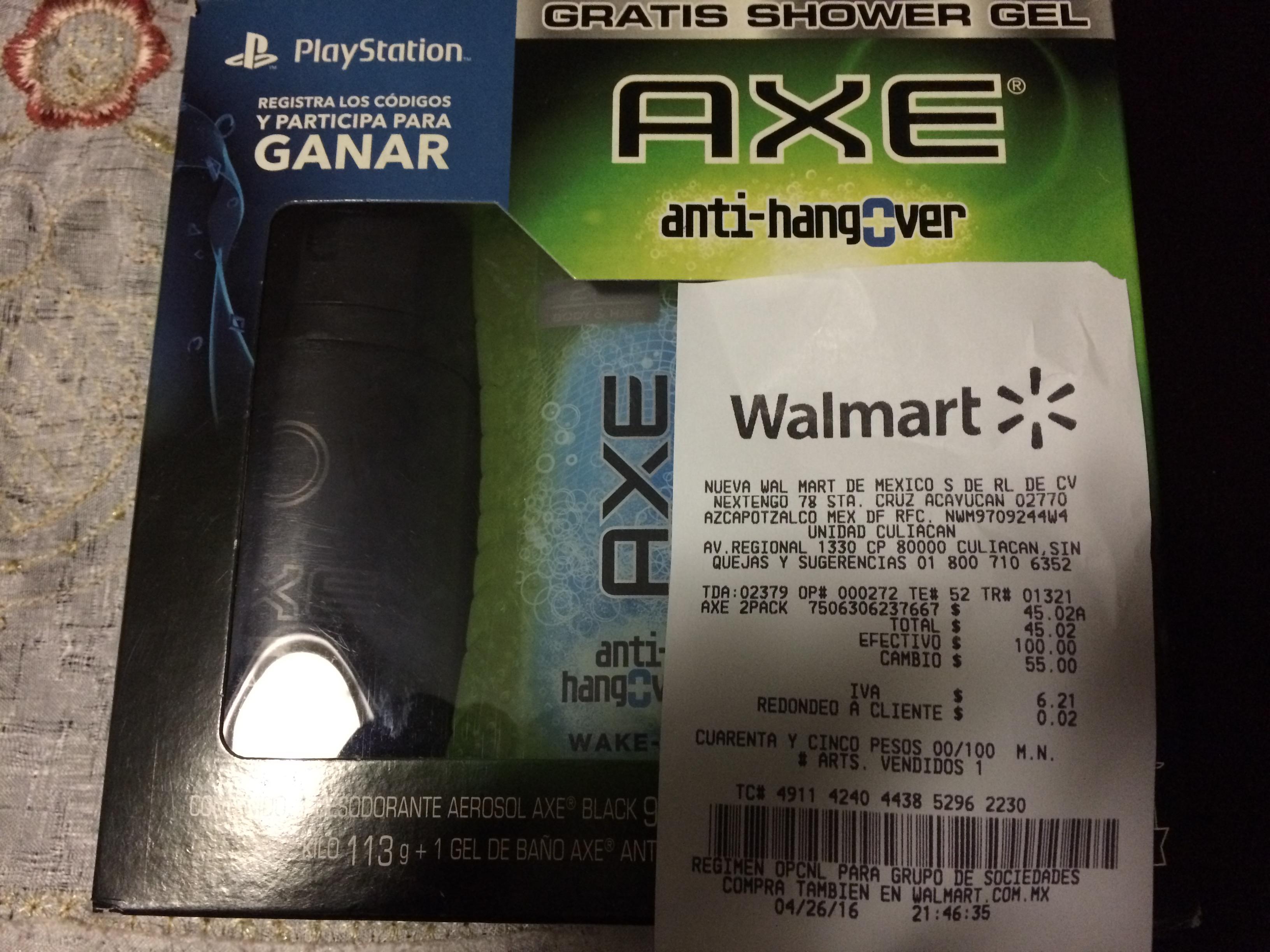 Walmart: Paquete 2 desodorantes Axe + jabón líquido a $45