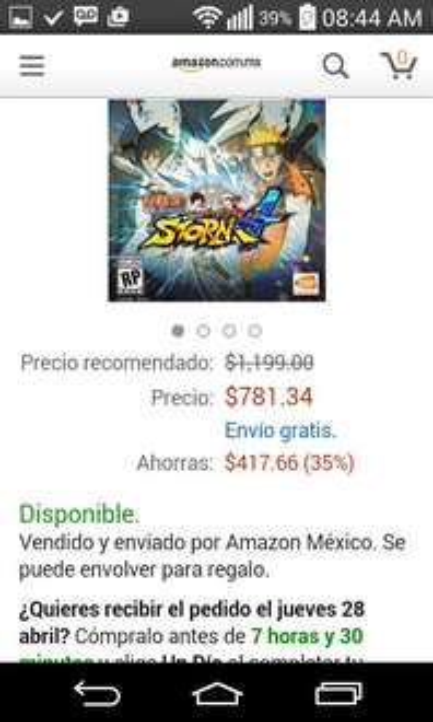Amazon: Naruto Storm 4 para Playstation 4 a $781.34