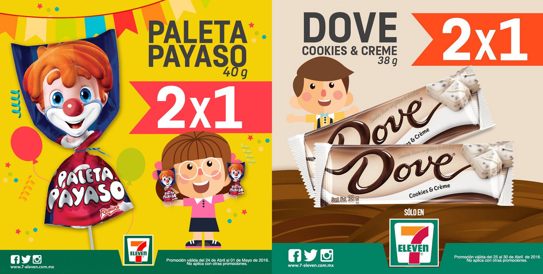 7 Eleven: 2x1 en Paleta Payaso y Chocolate Dove Cookies & Creme 38g