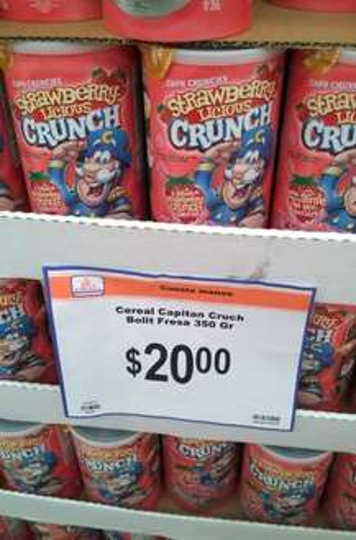 Chedraui: Cereal Capitan Crunch bote de 350g. de $53.95 a $20