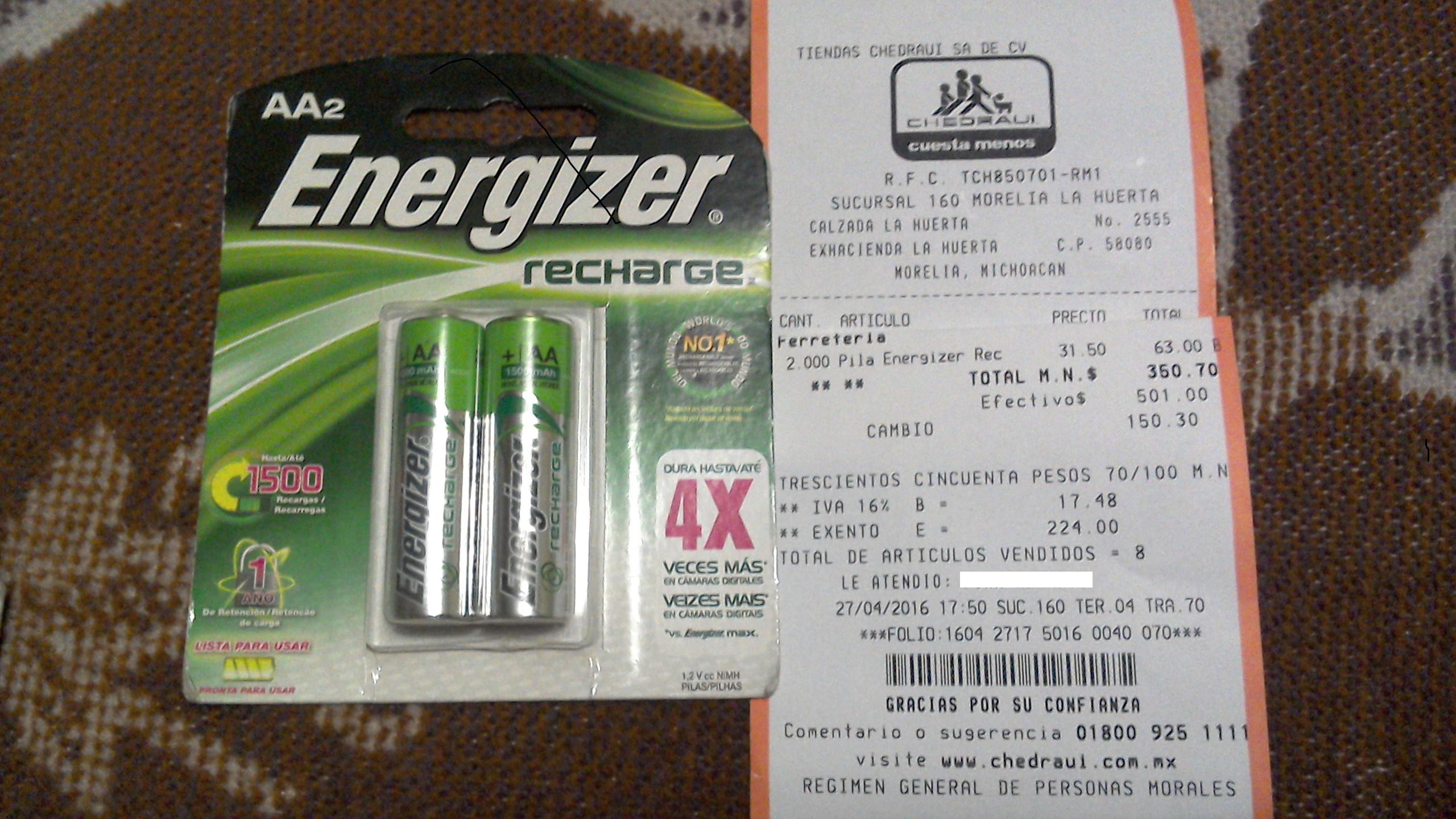 Chedraui Morelia Huerta: Pilas Energizer Recargables a $31.50